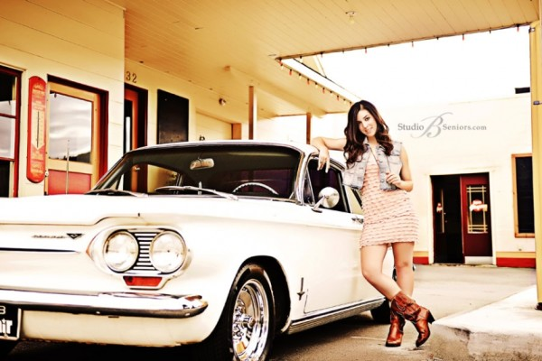 Pretty Girl With Corvare Car For Senior Pictures