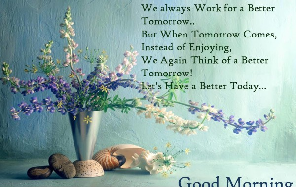 Flower Pot Wishes Happy Morning With Quotes