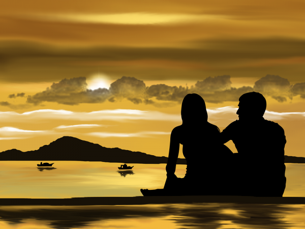 romantic beach love image